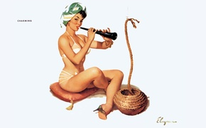 Picture girl, rope, pillow, art, flirting, Dudka, pin-up, charming, Gil Elvgren, turban, fakirsha