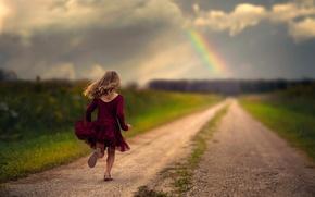 Picture road, rainbow, dress, running, girl