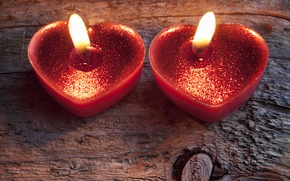 Picture romance, heart, candles, light, heart, romantic, Valentine's Day, candle