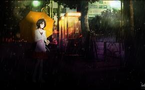 Picture machine, girl, umbrella, rain, street, Bleach, Bleach, Kuchiki Rukia, Rukia Kuchiki
