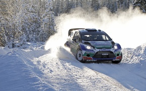 Picture Ford, Winter, Snow, Forest, Turn, Skid, Car, Focus, WRC, Rally, Sport, J. M. Latvala