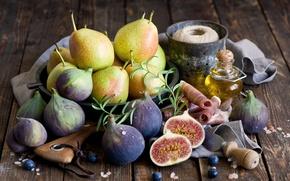 Picture oil, food, fruit, pear, ham, figs, Anna Verdina