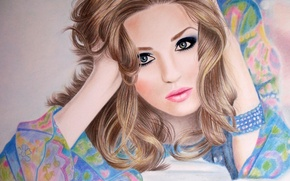 Picture eyes, girl, face, hair, hands, makeup, blonde, lips, lies, bracelet, painting, curls