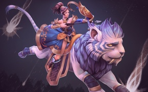 Picture girl, star, Archer, art, beast, Dota 2, Mirana, Princess of the Moon
