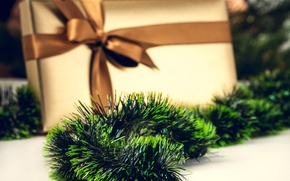 Picture the rain, green, box, gift, New Year, Christmas, the scenery, tinsel, bow, ribbon
