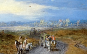 Wallpaper Jan Brueghel the elder, road, riders, A landscape with Travelers, picture, wagon