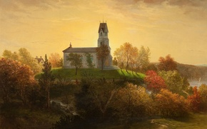 Picture the city, river, picture, painting, painting, the Church