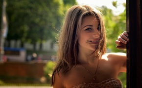 Wallpaper portrait, look, smile, Dana, bokeh