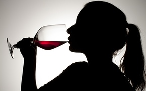 Picture glass, woman, silhouette, red wine