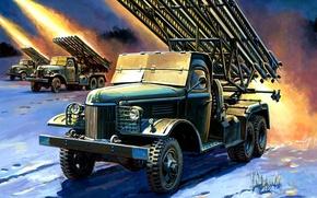 Picture figure, art, volley, start, Zhirnov, Katyusha, BM-13, the Soviet war machine rocket artillery