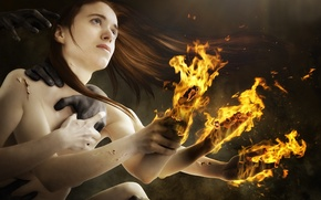 Picture Burnout, girl, fire, flame, hands
