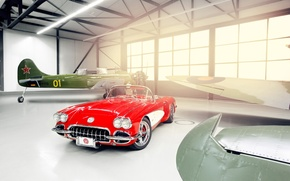 Picture light, red, tuning, Windows, Corvette, Chevrolet, hangar, Chevrolet, drives, classic, tuning, the front, aircraft, custom, …