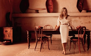 Wallpaper table, Michelangelo di Battista, figure, InStyle, actress, model, hairstyle, chairs, is, in white, Jennifer Aniston, ...