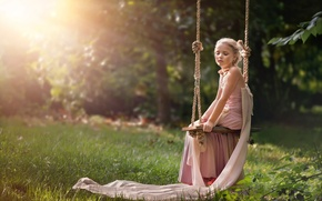 Picture summer, the sun, swing, dress, girl, Serenity