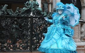 Wallpaper forging, Venice, mask, umbrella, carnival, costume