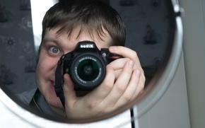 Picture guy, mirror, fotoaparat