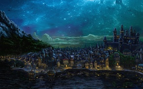 Picture the sky, night, the city, art, Forgotten Realms, Waterdeep