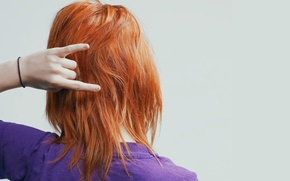 Picture hair, hand, red, gesture, celebrity, Hayley Williams