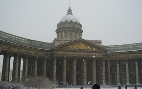 Picture people, Winter, The city, Peter, Cathedral, Snow, Russia, Kazan, St. Petersburg