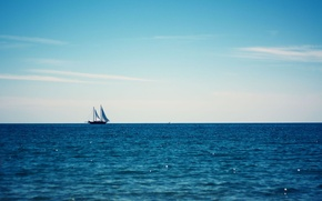 Wallpaper sea, summer, the sky, blue, yacht, horizon
