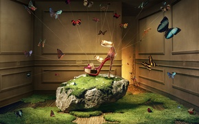 Picture grass, butterfly, lights, room, magic, stone, moss, Khuong Nguyen, advertising shoes, Christian Louboutin, sandals