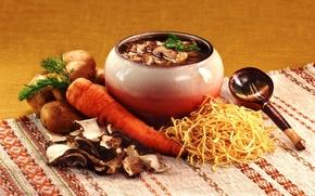 Picture mushrooms, spoon, carrots, pot, potatoes, noodles, stew