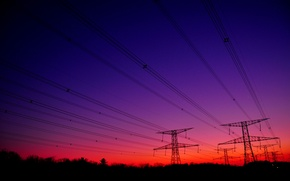 Picture the sky, wire, silhouette, support, glow