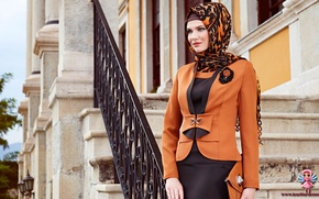 Picture modern hijab clothing, Turk, girl. model