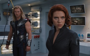 Picture team, agent, Scarlett Johansson, Marvel, superheroes, Thor, Thor, Chris Hemsworth, Natasha Romanoff, The Avengers, The …