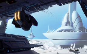 Picture planet, spaceships, skybase-speedpaint
