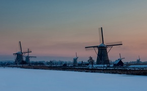 Picture winter, sunset, mill