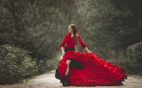 Picture girl, face, style, background, hair, dress, legs, chic