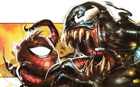 Picture Marvel Comics, Spider-Man, Venom, symbiote
