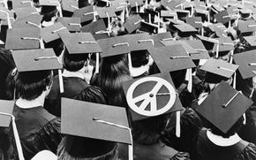 Picture Graduation, Black and White, College, Peace Symbol
