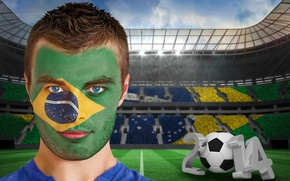 Picture football, face, flag, World Cup, Brasil, FIFA, 2014