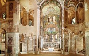Picture design, style, interior, Cathedral, temple, interior, the Church, Catedral, Ravenna, San Vitale