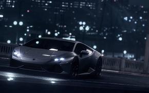 Picture Color, Lamborghini, LP610-4, Garage, Black, Huracan, Dark, Supercar, Front, Wheels, Water