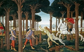 Picture sea, trees, mountains, people, picture, rider, genre, mythology, Sandro Botticelli, History Nastagio Degli Onesti (I)