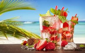 Wallpaper sea, beach, strawberry, cocktail, summer, beach, fresh, sea, strawberry, paradise, drink, mojito, cocktail, Mojito, tropical