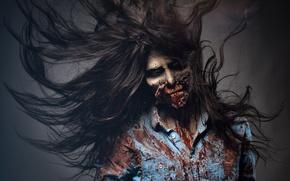 Wallpaper woman, dirt, blood, makeup, zombie, scary, art