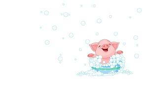 Picture foam, smile, mood, minimalism, bathing, art, children's, pig