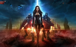 Picture girl, the city, weapons, ships, art, soldiers, armor, ruins, Total Domination