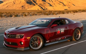 Picture road, mountains, tuning, Chevrolet, muscle car, camaro, chevrolet, tuning, muscle car, the front, Burgundy, Camaro, …