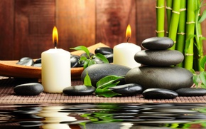 Wallpaper water, stones, candles, bamboo, black, Spa, spa, massage