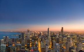 Picture the city, lights, the evening, Chicago, panorama