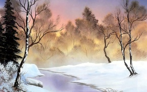 Picture winter, forest, snow, trees, lights, dawn, shore, ice, picture, morning, painting, the bushes, Bob Ross, …