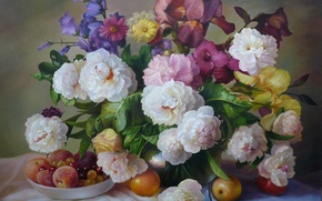 Picture flowers, bouquet, fruit, painting