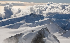 Wallpaper tops, snow, clouds, mountains