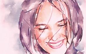 Picture face, smile, watercolor, singer, Alizée, Alizée