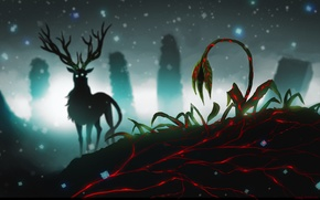 Picture flower, snow, night, animal, the darkness, the building, deer, silhouette, art, horns, ruins, romance of …